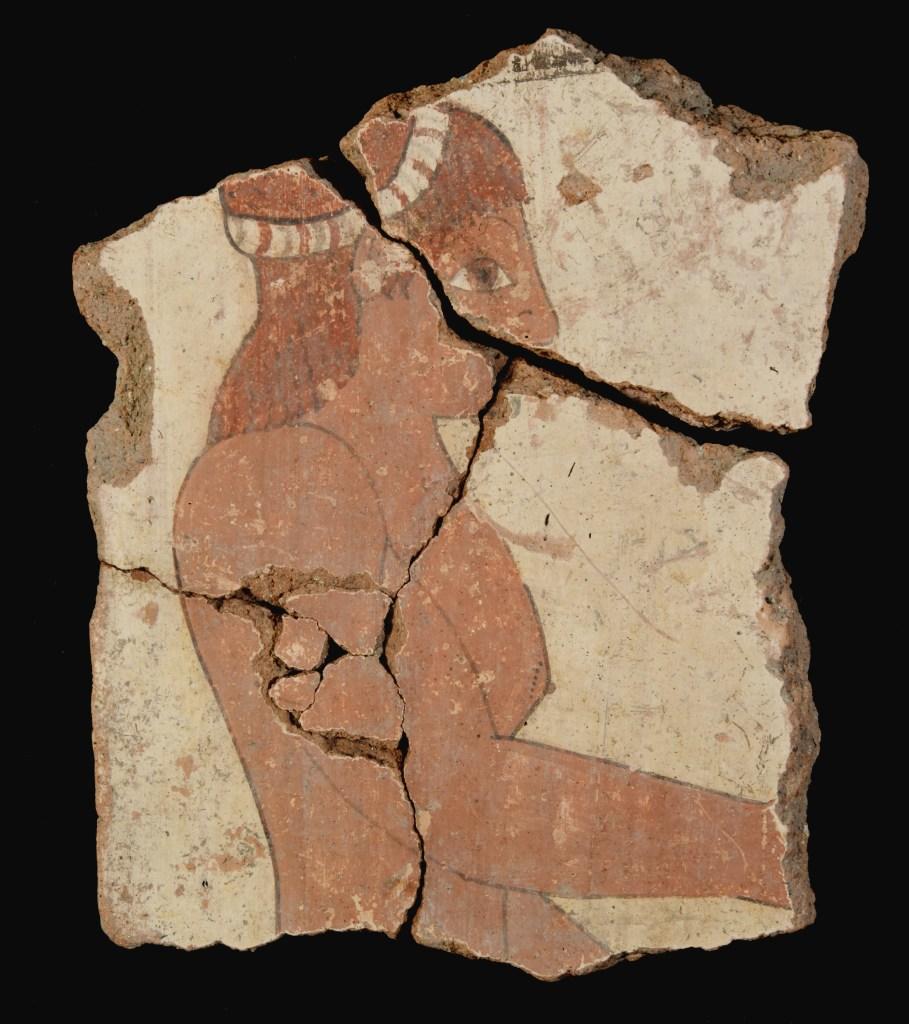 Frammento di lastra dipinta con figura di giovane uomo