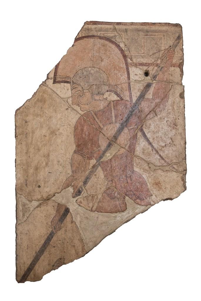 Lastra fittile con guerriero dipinto da Ceri, Etruschi Maestri Artigiani Cerveteri Tarquinia