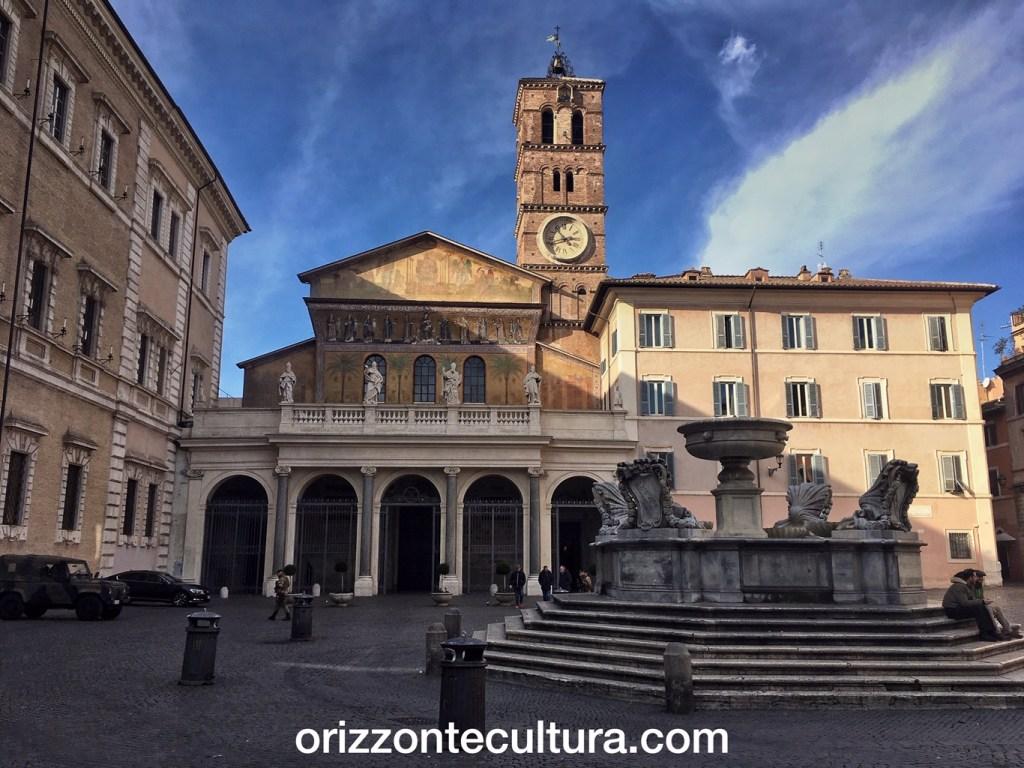 Facciata Basilica Santa Maria in Trastevere, passeggiate romane basilica Santa Maria in Trastevere