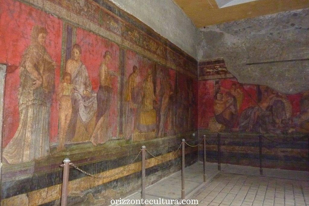 Dettaglio degli affreschi della Villa dei Misteri a Pompei, 15 siti Unesco da visitare in Italia una volta nella vita