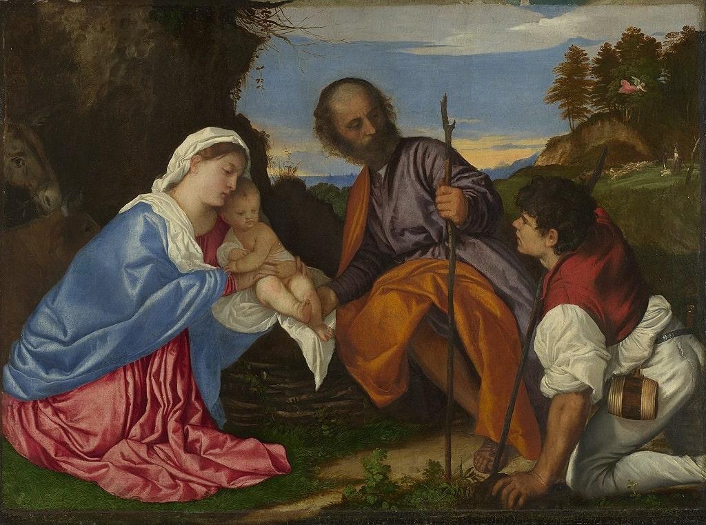 Tiziano Vecellio, Sacra Famiglia con un pastore, natività più belle storia arte