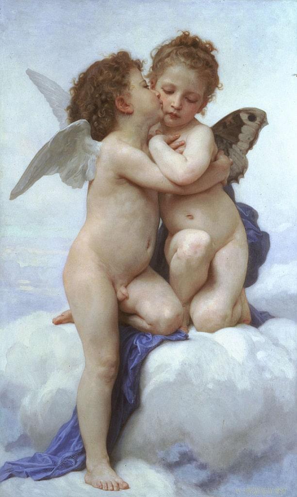 Bouguereau, Amore e Psiche bambini, baci famosi arte