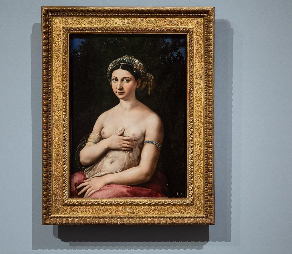 Raffaello, La Fornarina, Palazzo Barberini allestimento sale Cinquecento