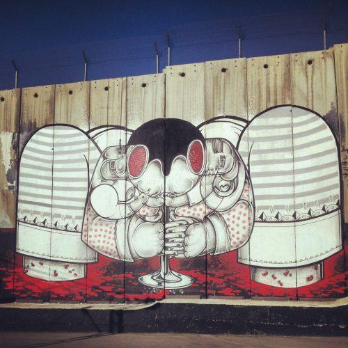 Murale in Cisgiordania, sul muro di separazione