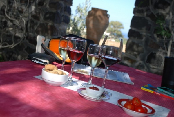 Degustazione di vini secchi alla Canava Roussos