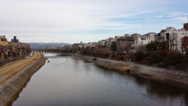The Kamogawa river and the mountains from Kyoto centre