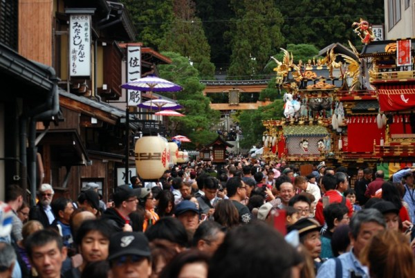 Takayama, the floats display in front of the Hachiman Shrine
