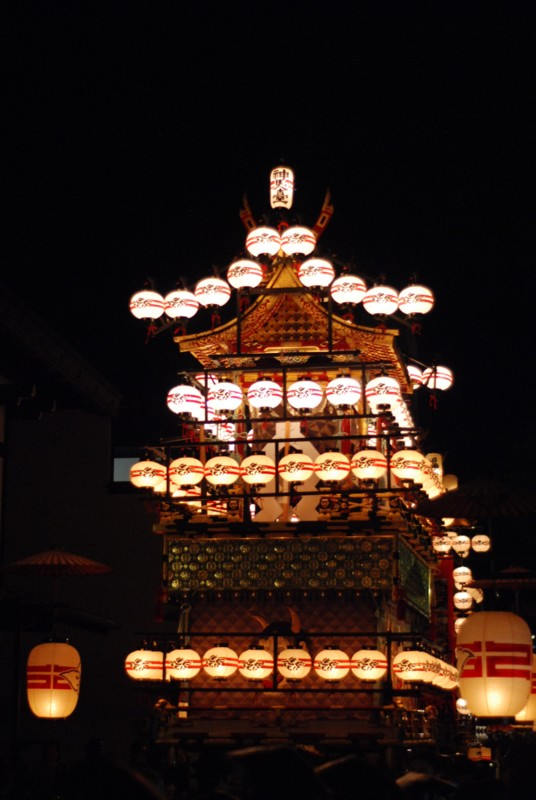 A float with lanterns for the night procession in Takayama