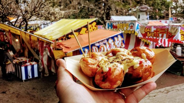 Takoyaki in Mito among the plum blossoms!
