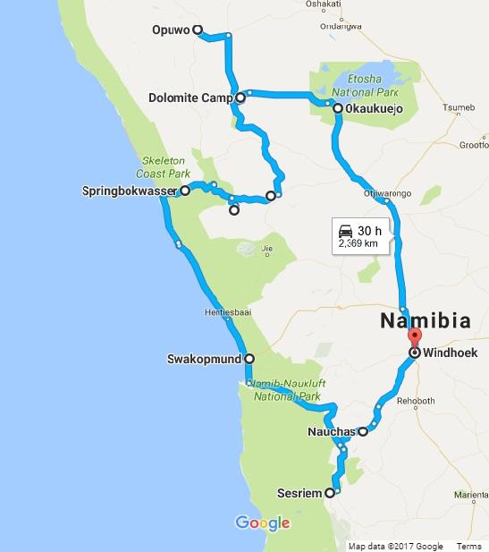 Itinerario di due settimane in Namibia in auto