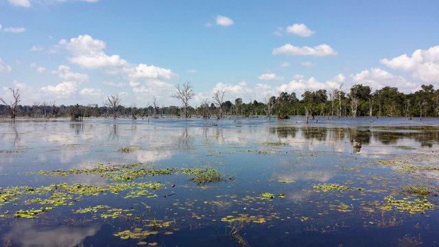 Il Neak Pean nella stagione umida è circondato dall'acqua