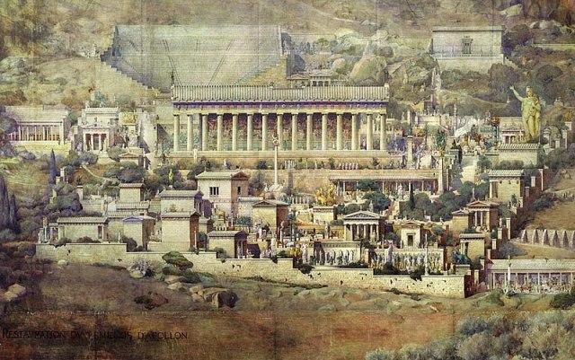 Una ricostruzione dell'antica Delphi disegnata dall'architetto francese Albert Tournaire