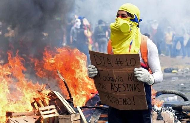 Alcune delle proteste in Ecuador contro il governo di Moreno