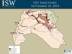 La mappa mostra le zone di controllo, attacco e supporto in Siria e Iraq.