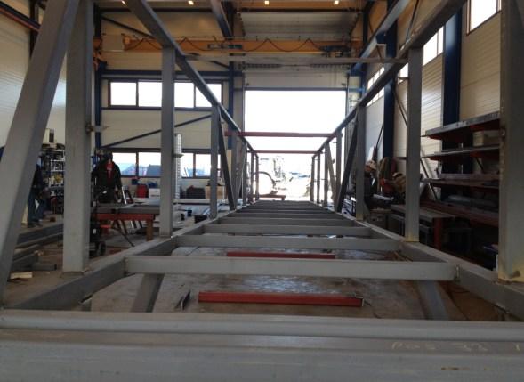 Prefabrikasjon av landgang i stål