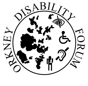 Orkney Disability Forum charity logo shows a map of Orkney and the blind, wheelchair, deaf and injured symbols