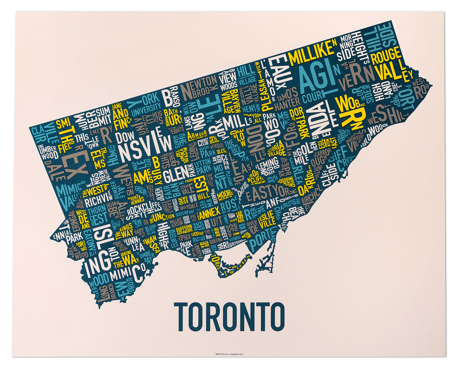Toronto Neighbourhood Map Artwork 30 X 24 Multi Color