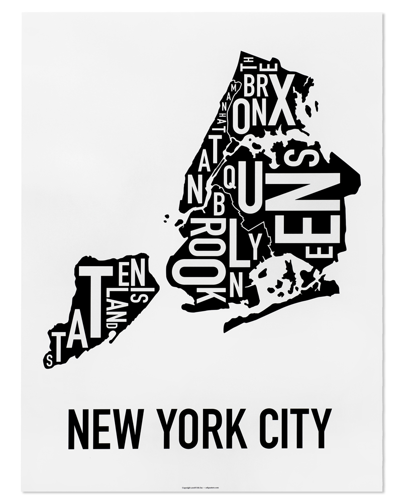 New York City Map Poster : poster, Boroughs, Classic, Black, White, Poster
