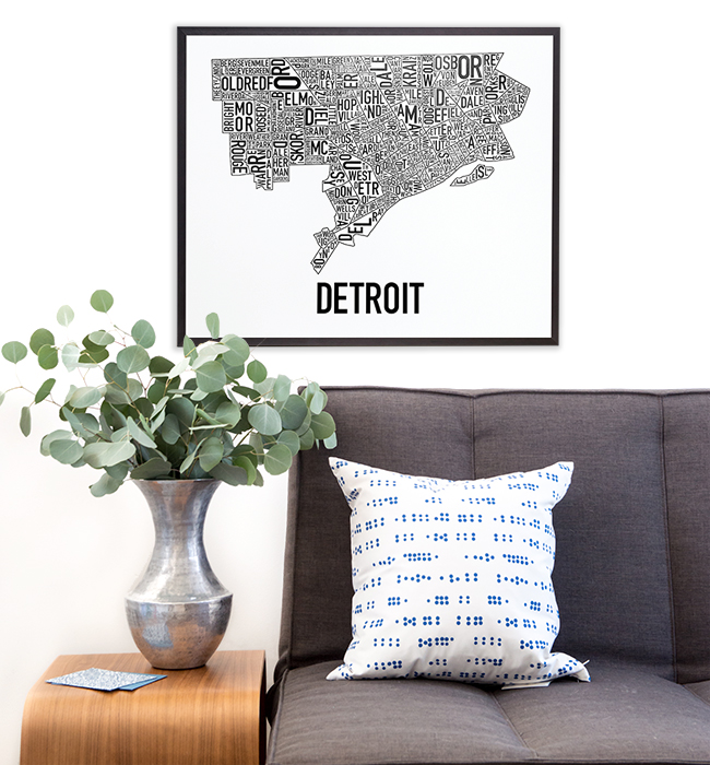 Garage For Sale Bronx Detroit City Neighborhood Map Posters - Indie Made In The Usa