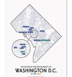washington dc 2019 michelin star restaurants map 11 x 14 print [ 800 x 1000 Pixel ]