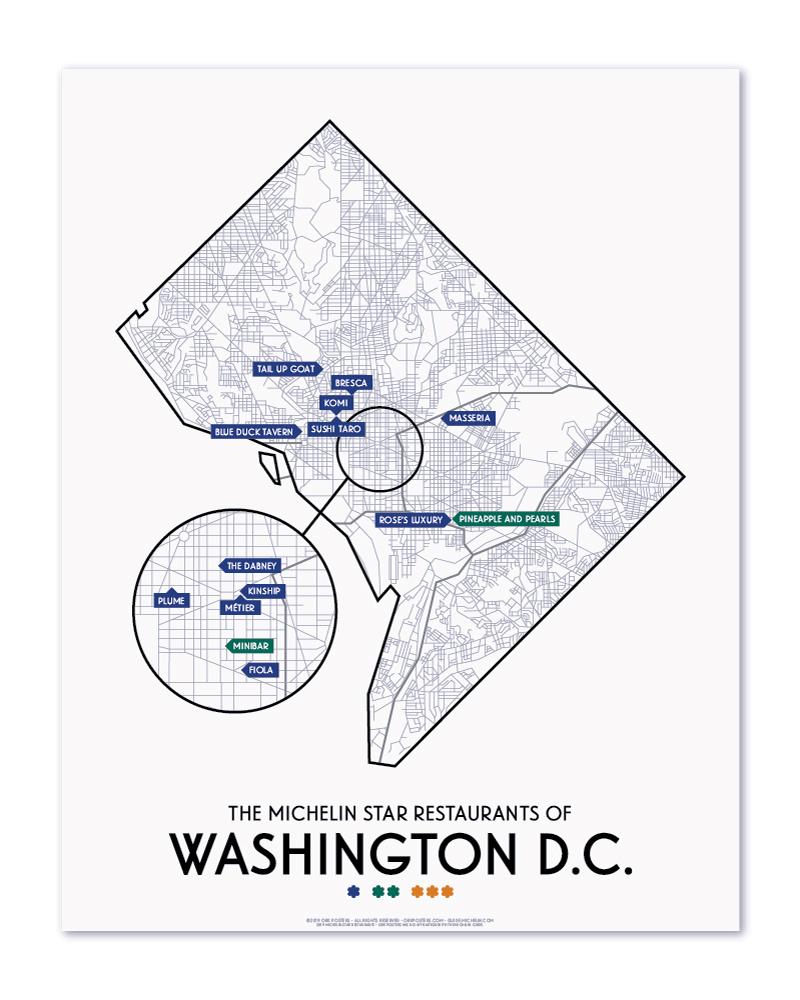 medium resolution of washington dc 2019 michelin star restaurants map 11 x 14 print