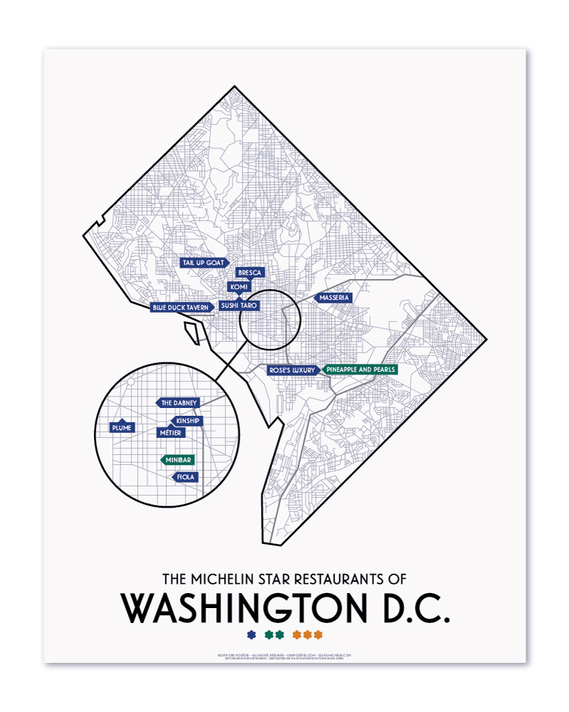 hight resolution of washington dc 2019 michelin star restaurants map 11 x 14 print