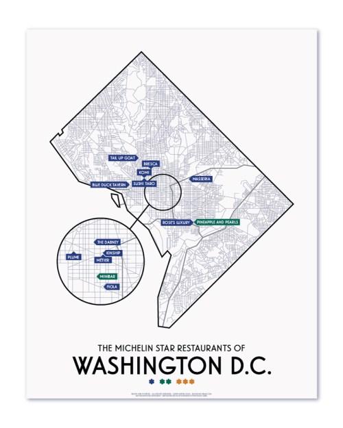 small resolution of washington dc 2019 michelin star restaurants map 11 x 14 print