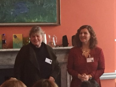 Jane Talbot of Women Aloud NI greets Valerie Bistany of the Irish Writers Centre