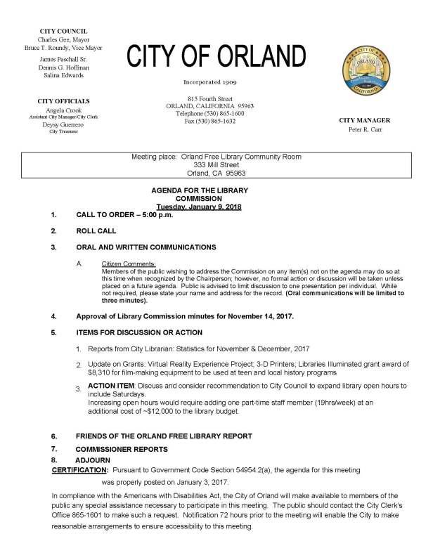 library commission agenda Jan 9, 2018