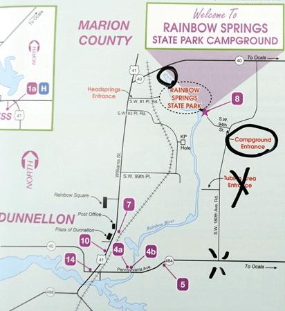Map of Rainbow Springs