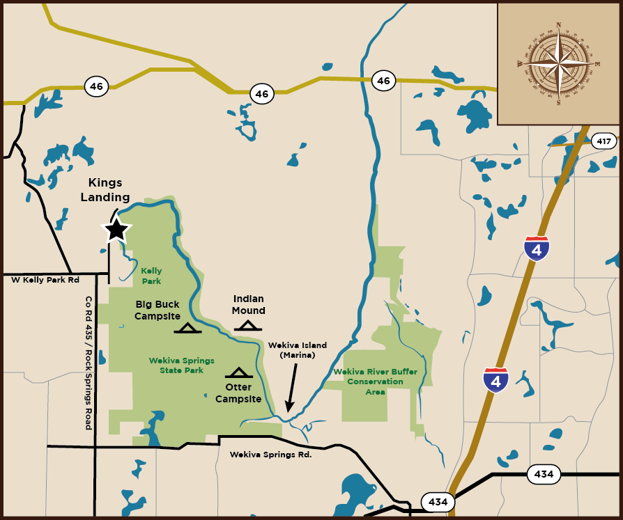 Map of King's Landing Canoe Rental—North Orlando Canoe Trip Florida