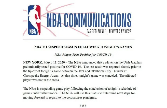 Read more about the article CORONAVIRUS SUSPENDS THE NBA INDEFINITELY