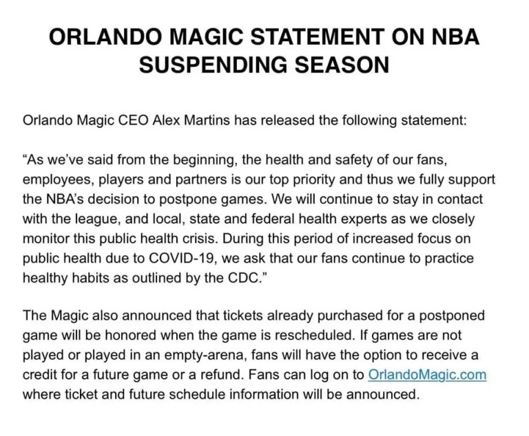 MAGIC STATEMENT ON THE NBA HIATUS