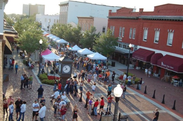 Best free event in Orlando: image of tents and people enjoying Alive After 5 in downtown Sanford, Florida.