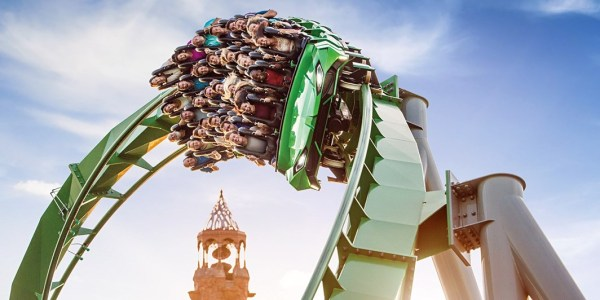 Universal Orlando things to do: image of people riding the Incredible Hulk Coaster at Universal Orlando Islands of Adventure