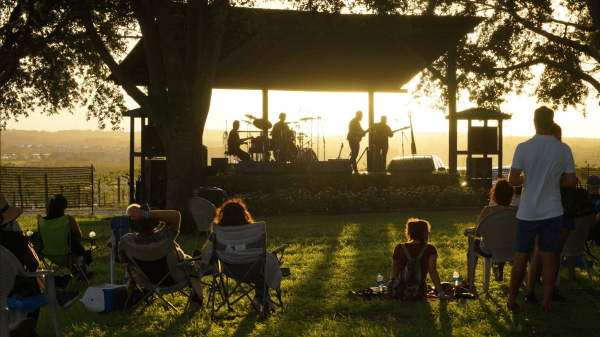 Orlando events: image of people listening to an outdoor concert at Lakeridge Winery