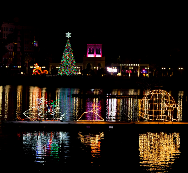 Orlando Christmas lights: image of light display over water at Cranes Roost Park