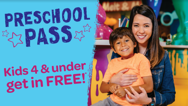 Crayola Experience Preschool Pass: graphic with mom and son showing that kids 4 and under get in FREE