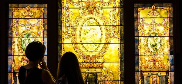 Charles Hosmer Morse Museum of American Art in Winter Park: image of people viewing the Tiffany stained glass