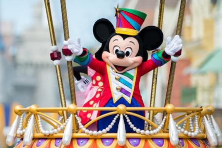 Disney Festival of Fantasy Parade at Magic Kingdom: image of Mickey Mouse waving on parade float