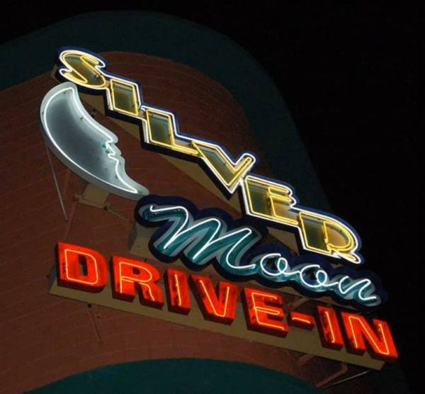 Drive-In movie theaters: image of Silver Moon Drive-In movie theater classic neon sign