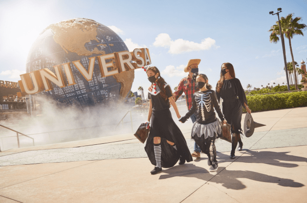 Halloween Orlando: image of family dressed in Halloween costumes to experience new Halloween attractions at Universal Studios at Universal Orlando Resort