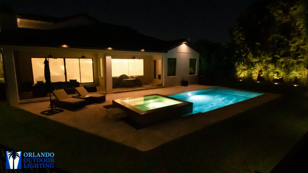 Pool and deck lights on