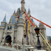 Painting Starts to Turn Cinderella Castle Rose Pink at Magic Kingdom
