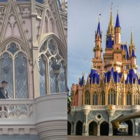 Guest Standing on Cinderella Castle Balcony at Magic Kingdom Caught on Camera