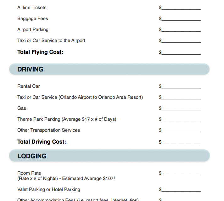 Orlando Vacation Budget Template - Vacation budget template