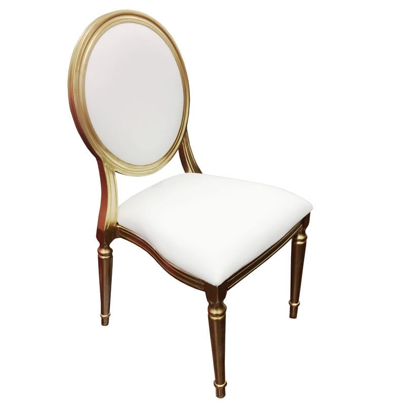 Gold  White King Louis Chairs  Orlando Wedding and Party