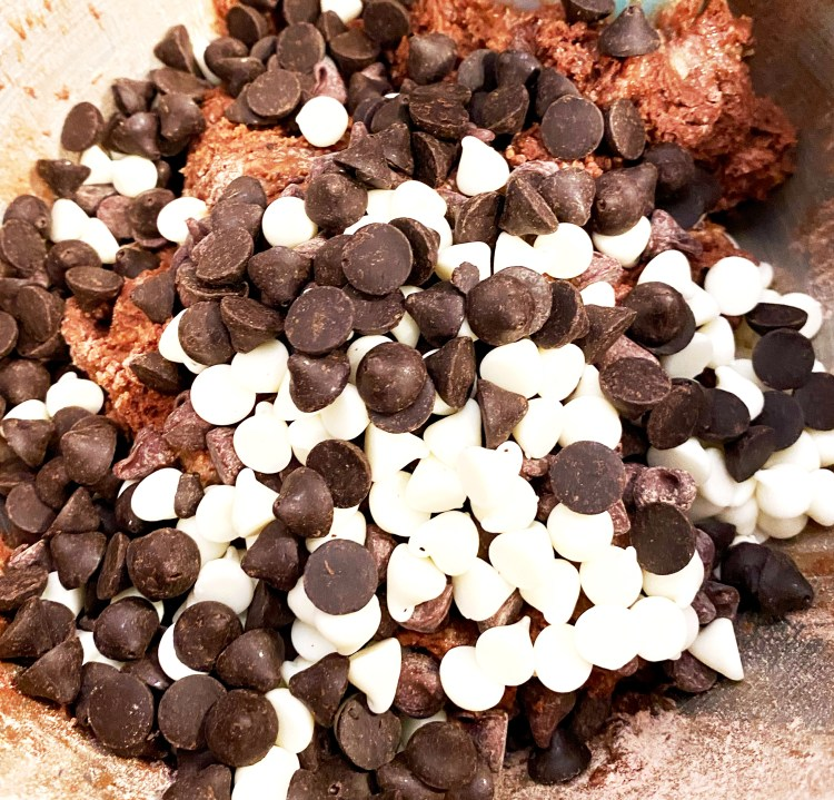 white and semi-sweet chocolate chips