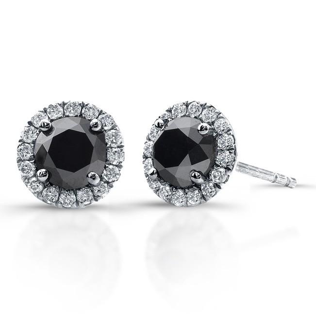 14k White Gold Black Diamond Stud Earrings With Halo