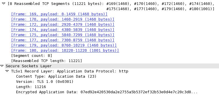 WireShark capture of 11,211-byte TLS record split over 8 TCP segments